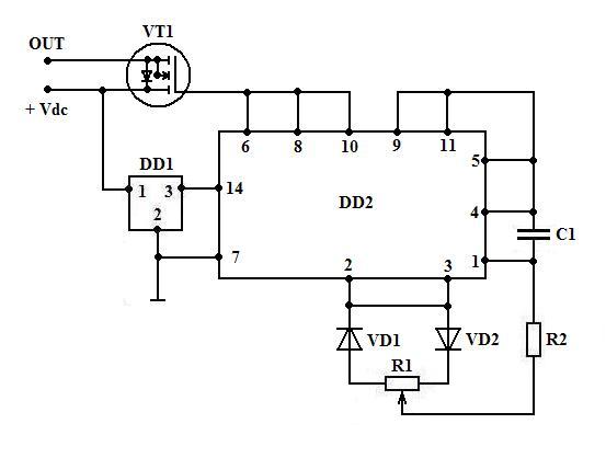 C1.  Достаточно простой регулятор напряжения на основе КМОП логики, без стабилизатора по питанию микросхемы...