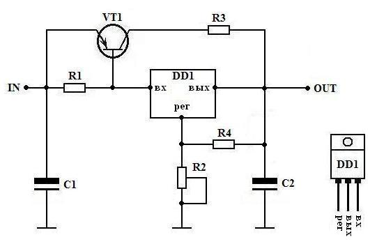 Значение.  Элемент.  Регулируемый стабилизатор напряжения 1.6-36 В на имс КР142ЕН12А и мощном транзисторе.