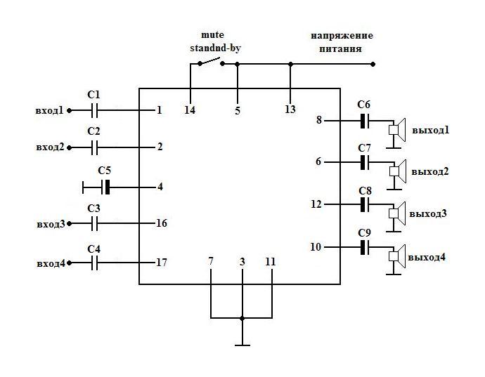 Схема усилителя 4х11 Вт